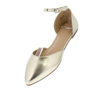 Gold Pointed Toe Ankle Strap Dorsay Ballet Flat